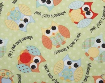 PUL Laminated Fabric - Playful Friends Owls - 1/2 YARD