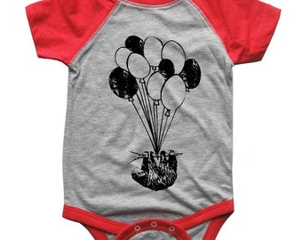 BABY Bodysuit SLOTH on Balloons Raglan one piece shirt creeper Baseball jersey screenprint Choose Size