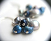 Science Jewelry . Gray Pearl Earrings . Blue Pearl Earrings . Freshwater Pearl Cluster Earrings - Melody Halcyon Collection