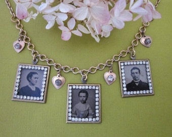 Antique Tintype Necklace Assemblage and Baby Makes Three