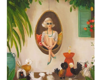 Extraordinary Chickens. Art Print