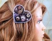 SteamPunk Gear Heart Hair Clip MTCoffinz