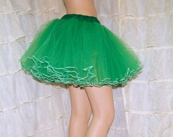 Green and White Piped Costume TuTu Crinoline Skirt MTCoffinz --- Adult All Sizes