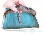 Seahorse Platter in Cottage Beach Style with Driftwood Handle Aqua blue and Natural