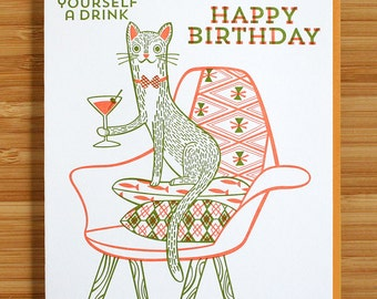 Purr Yourself A Drink Letterpress Printed Birthday Card