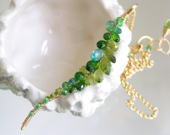 Green Peridot Linear Vine Necklace, Chrome Diopside Gold Filled Curved Pendant, Wire Wrapped, Plunging, Elegant, Original Design, Signature