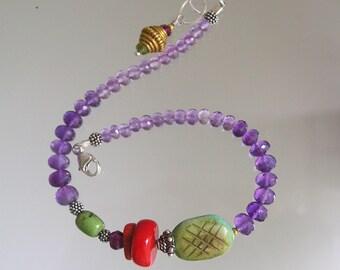 Amethyst Beaded Bracelet, Turquoise Layering Silver Bracelet, Vintage Coral, Garnet, Purple, Artist Made, Original Design, Signature