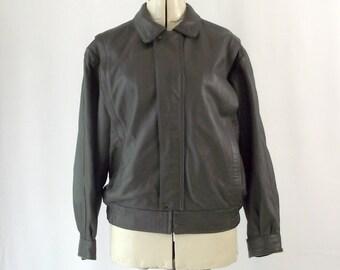 1980s Grey Fine Leather MOTO Jacket Zip Vera Pella Italian Leather Large Size 46