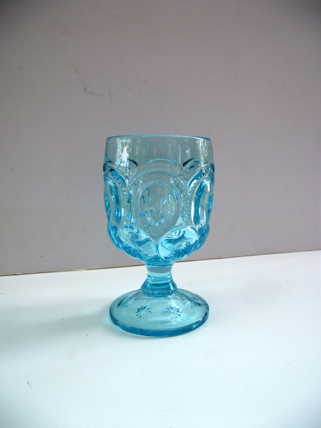 Pressed Glass Goblet Light Blue Moon And Star Pattern Vintage