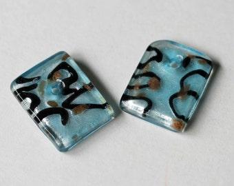 Ocean Blue, Black and Gold Rectangular Glass Pendants Qty 2, Blue Pendants, Glass Pendants