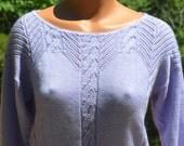 vintage 70s sweater POINTELLE knit cut out lavender cropped purple boat neck shirt women Medium arielle 80s