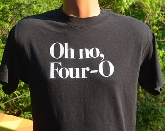 vintage 80s t-shirt 40th birthday forty oh no four-o black tee Large Medium funny gift present
