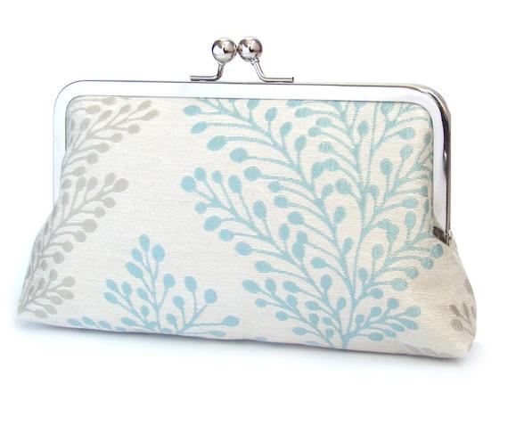 SALE: Clutch bag, wedding purse, bridal accessory, bridesmaid gift, woodland wedding, BLUE PODS