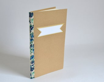Blue & Green Floral Notebook, Handbound Softcover Journal, Brown Pocket Notebook, Elegant Quick Notes