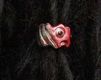 dreadlock bead clay hair accessory raku paisley rainbow red carved D0014