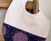 Organic Toddler Bib, ALLIUM; Pink and Purple Allium floral Organic Baby Bib Gift by Organic Quilt Company