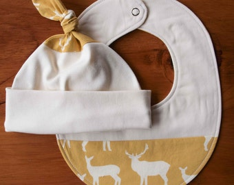 On Sale, Save 25% Organic Baby Hat and Bib Gift Set in ELK FAMILY SUN; Handmade Yellow Elk, Deer Newborn Baby Cap and Drool Bib Gift Set
