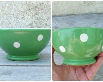 Vintage Longchamp France green polka dots cafe au lait bowl small size