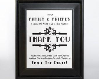 Art Deco Thank You Sign Printable DIY Digital File PDF Wedding 4x6 5x7 8x10 Vertical Friends Family Gift Table Sign
