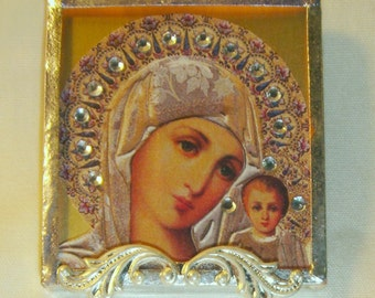 Bejeweled Virgin Mary Pin & Pendant Russian Icon inv1155