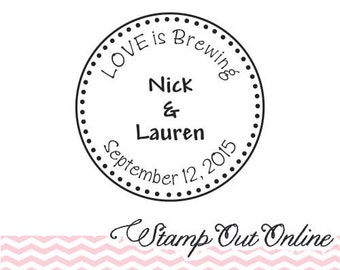 Cute Custom love is brewing rubber stamp SELF INKING