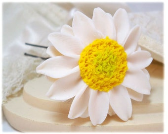 White Sunflower Hair Clip Pin - White Sunflower Hair Accessory