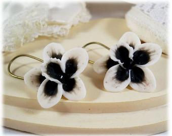 White Black Orchid Dangle Earrings - Black Orchid Drop Earrings