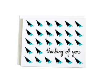 Thinking of You Card / Anytime Card / Screen Printed Card / Retro Design / Hand Pulled Print