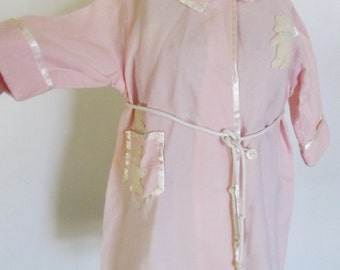 Vintage 1940's Handmade Pink Baby Robe With Teddy Bears, Baby Shower Gift, Ships Worldwide
