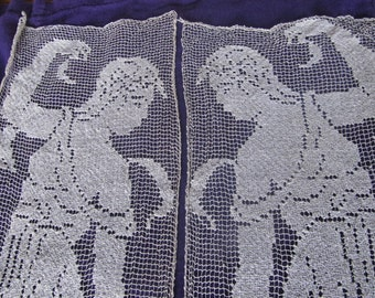 Antique Filet Lace Panels With Ladies, Ships Worldwide