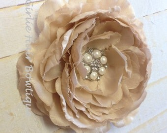 "Khaki Flower Clip Taupe Flower Clip Beige Flower Clip Ruffle Ranunculus 4.5"" Pearl and Rhinestone Clip Wedding Bridesmaid Flower Girl Prom"