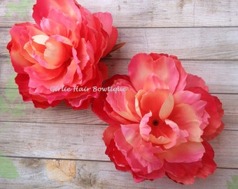 "DIY Supply Peach Flower Coral Flower Pink Flower Orange Flower Set of TWO Silk 5"" Peony Flowers Wedding Decor Bridal Bridesmaid Flower Girl"