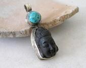 Tibetan Buddha Pendant Black Cinnabar Turquoise Sterling Silver Ethnic Vintage Healing Pendant