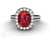 Ruby Engagement Ring Cushion Ruby Ring with Diamond Halo July Birthstone Gemstone 14K or 18K Gold Wedding Ring