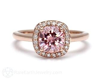 Pink Moissanite Ring Pink Engagement Ring Petite Cushion Halo Diamond Halo 14K or 18K Gold Pink Gemstone Ring