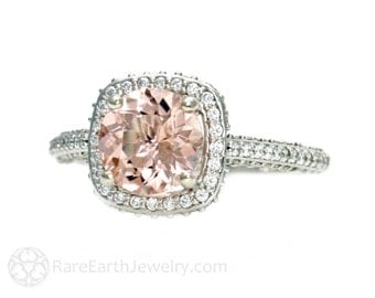 Platinum Morganite Engagement Ring Diamond Halo Setting Morganite Ring Custom Bridal Jewelry