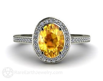 Yellow Sapphire Engagement Ring 14K Gold Oval Diamond Halo Sapphire Ring Custom Engagement Ring
