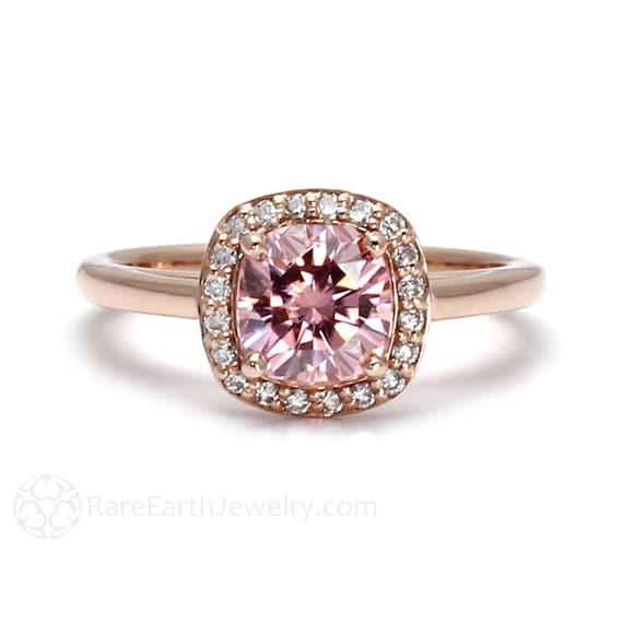 pink moissanite ring pink engagement ring petite cushion halo