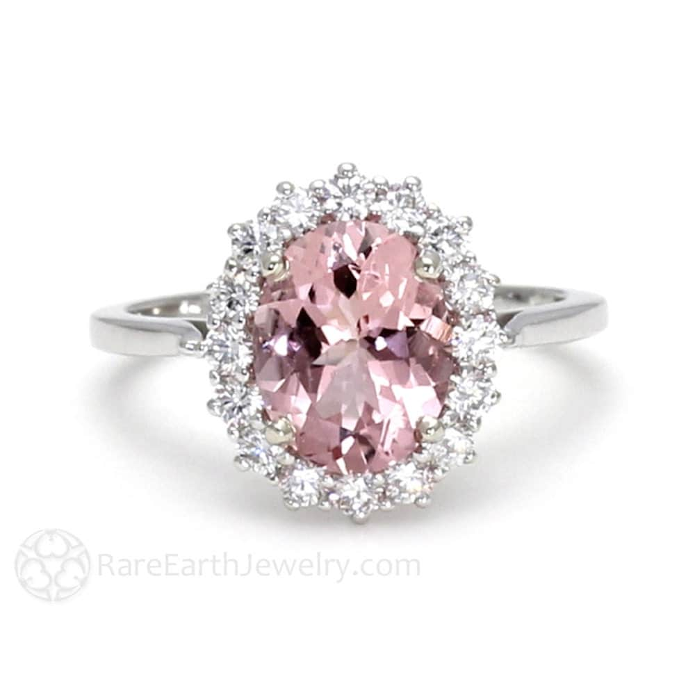 Pink Moissanite Engagement Ring Pink Moissanite Ring Platinum