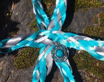 Wedding Handfasting Cord - Turquoise and Silver Grey