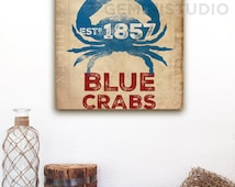 Maryland Blue Crab nautical graphic art illustration on gallery wrapped canvas by Stephen Fowler