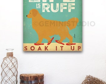 Beach Life golden retriever dog in sandals illustration graphic artwork on gallery wrapped canvas by Stephen Fowler Customize it!