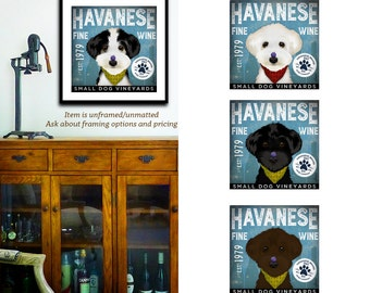Havanese dog wine Company graphic illustration giclee archival signed artist's print by Stephen Fowler Pick A Size