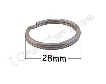 50 Key Rings 28 mm (1 1/8 Inch) - Round Nickel Plated Split Rings - Key Fob Hardware Key Rings - SEE COUPON