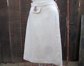 70s Wrap skirt Pappagallo stripe ribbon Vintage tan Skirt 1970s classic  M