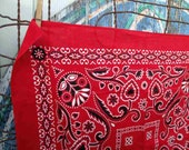 Vintage Red Trunk Down Bandana Feather designs thistle 40s Bandana fast color  hearts red Kerchief
