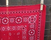 70s Vintage Red Bandana Dots squares fast color 100% cotton Bandana red Kerchief