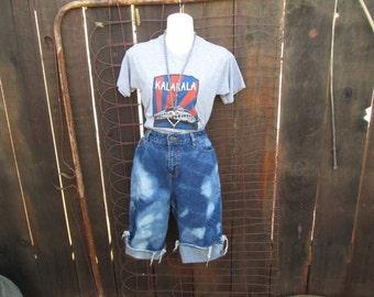 Blue Bleached Denim Cut off Shorts high waist denim Shorts Knee Length festival Shorts ooak handmade M L 32