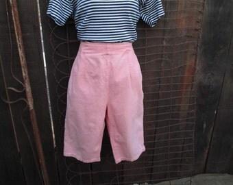 60s vintage Shorts knee length High Waist shorts Knee knocker bermuda shorts Peach pants Vintage denim shorts S M