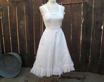 50s White Lace Sundress Vintage Wedding White cotton Eyelet Vintage Dress XS S